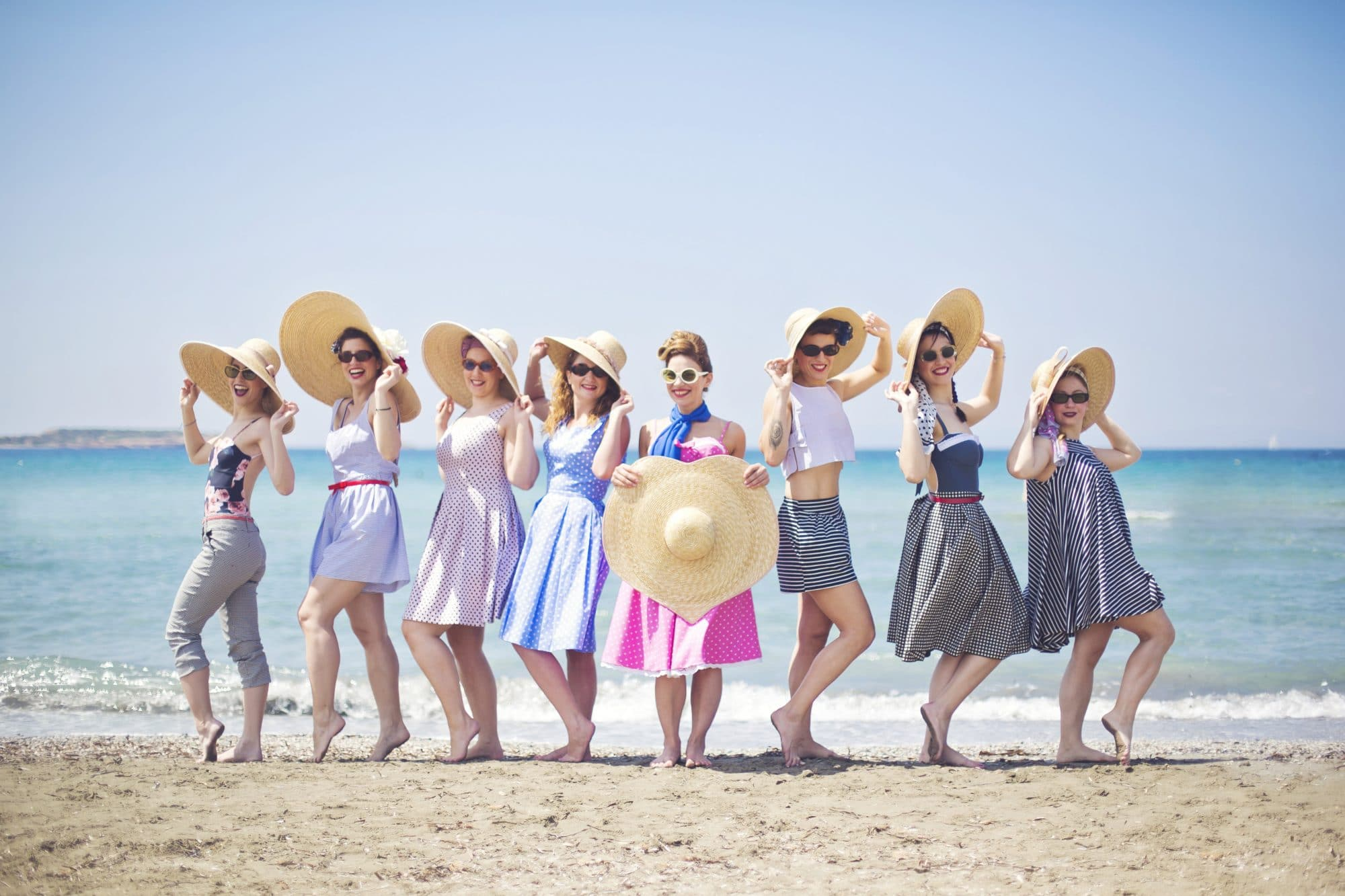 Vintage bachelorette photoshoot on the beach