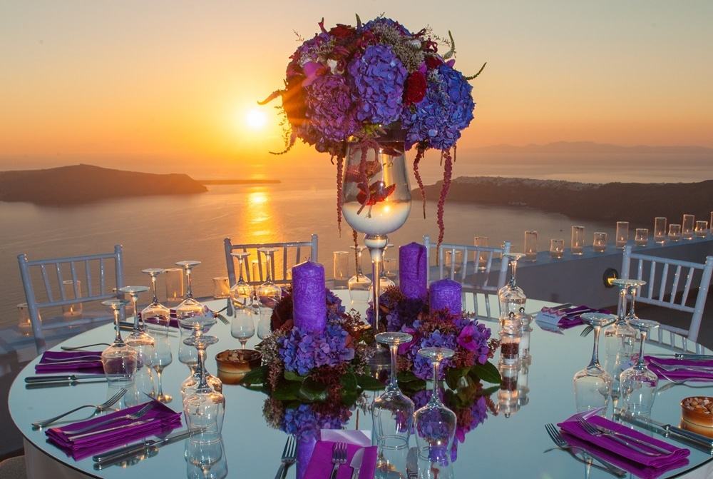 Glam Lebanese wedding in Santorini
