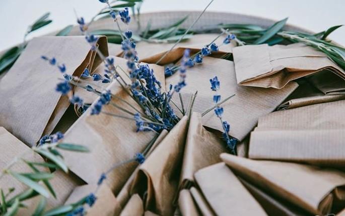 σακουλάκια για ρύζι γάμου με λεβάντα