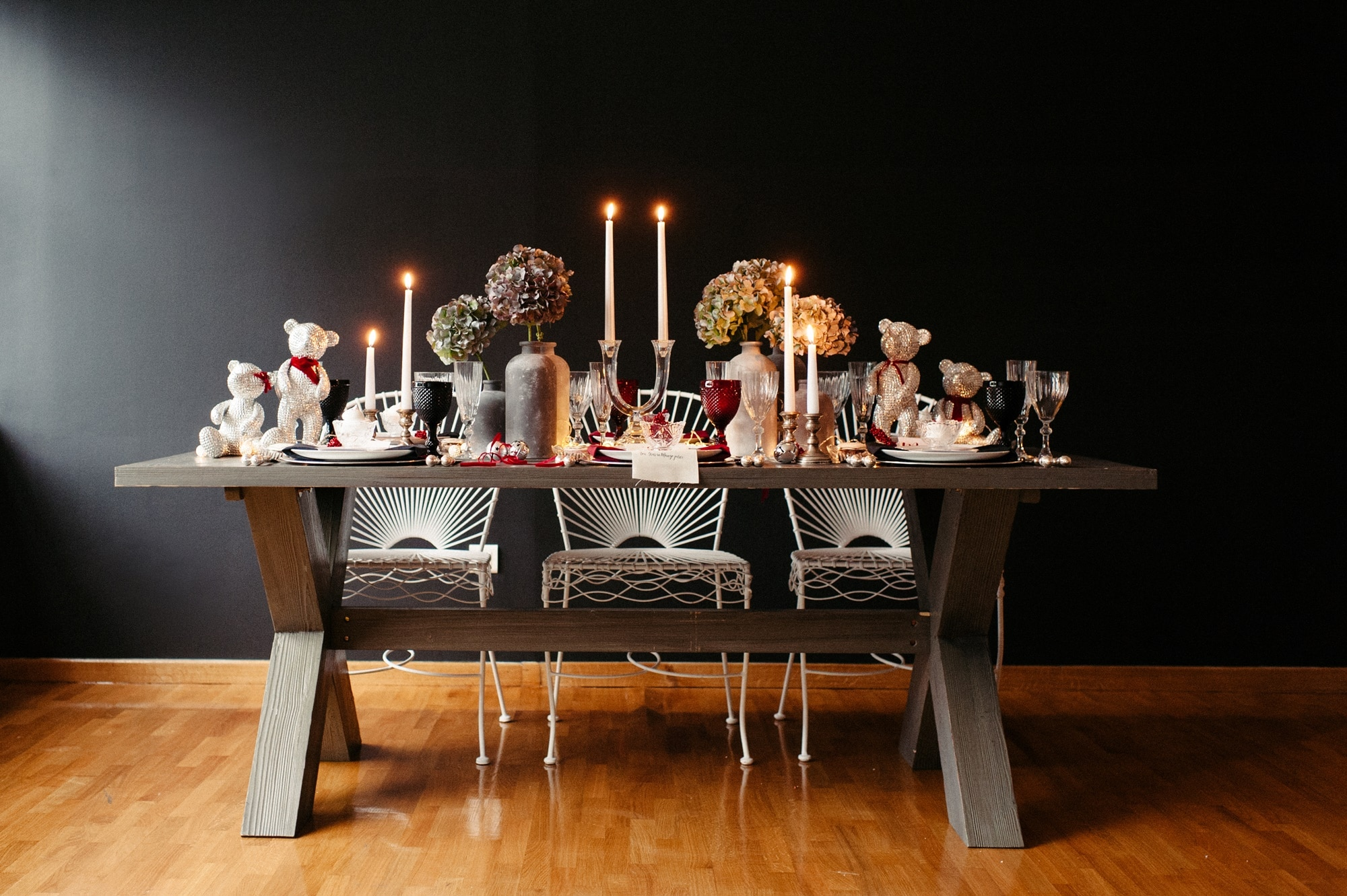 An industrial Christmas table