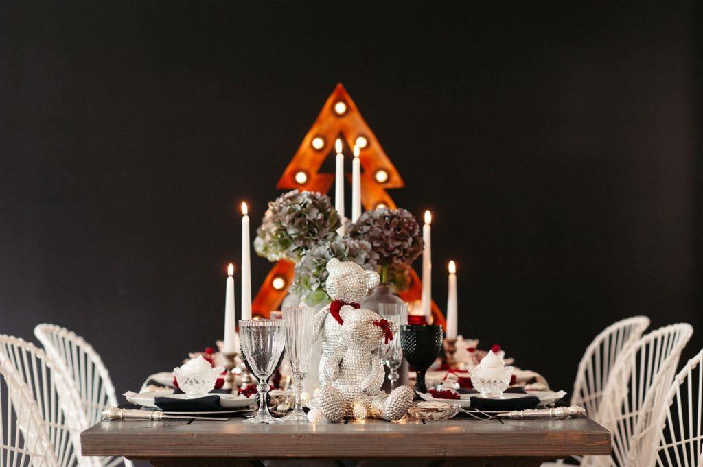 An industrial Christmas table
