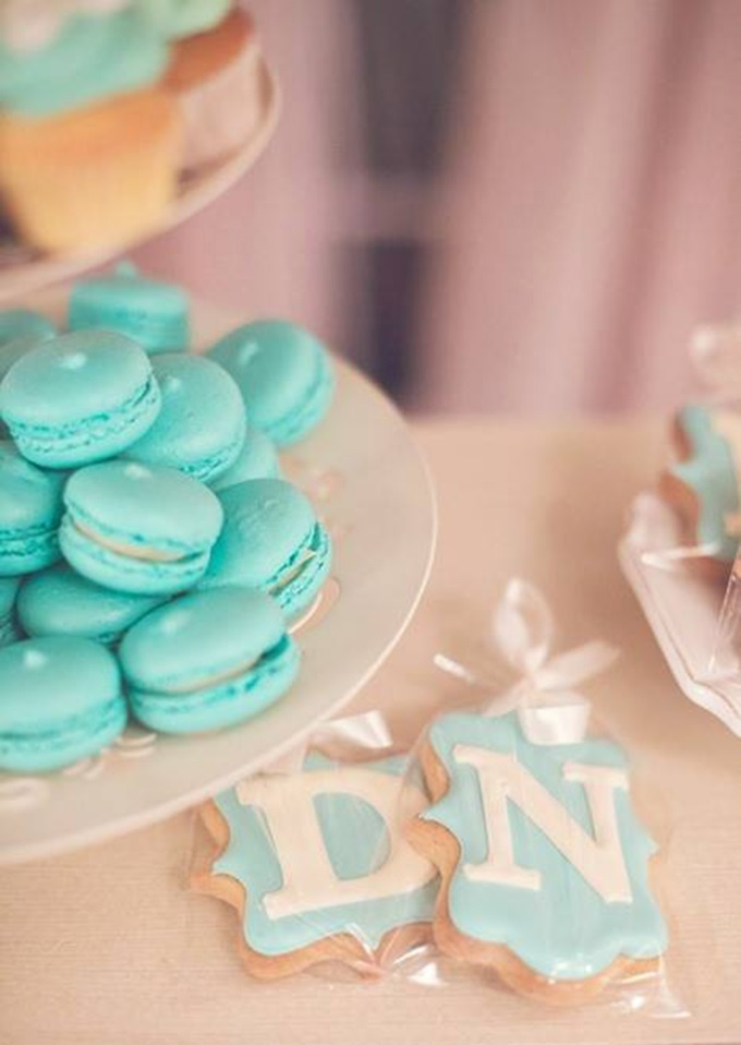 wedding cookies with bride and groom initials