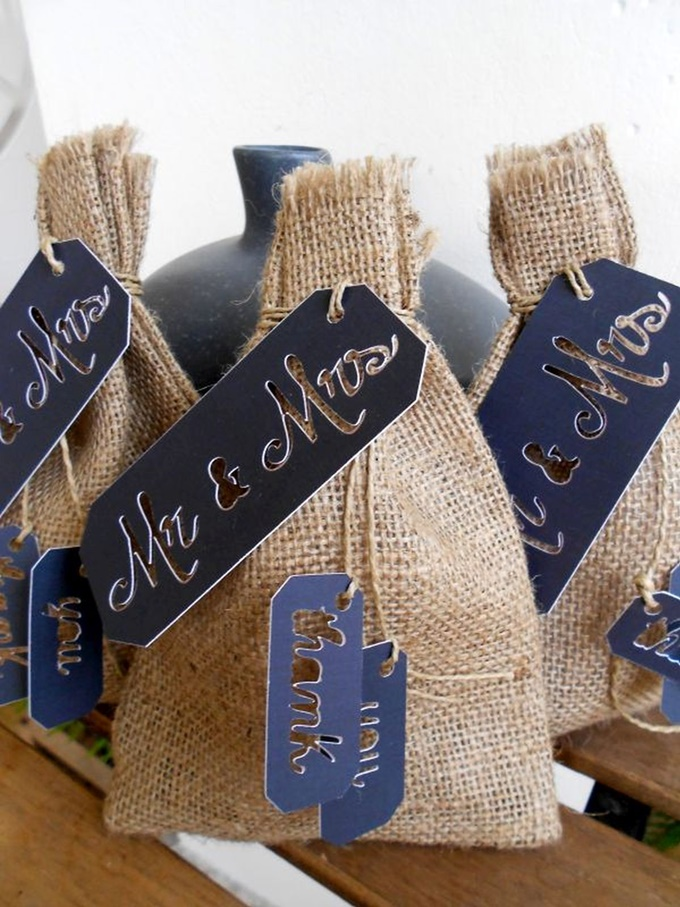 Burlap pouch with Mr & Mrs label