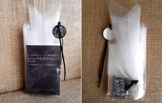 Μπομπονιέρα γάμου με κάρτα μαυροπίνακα
