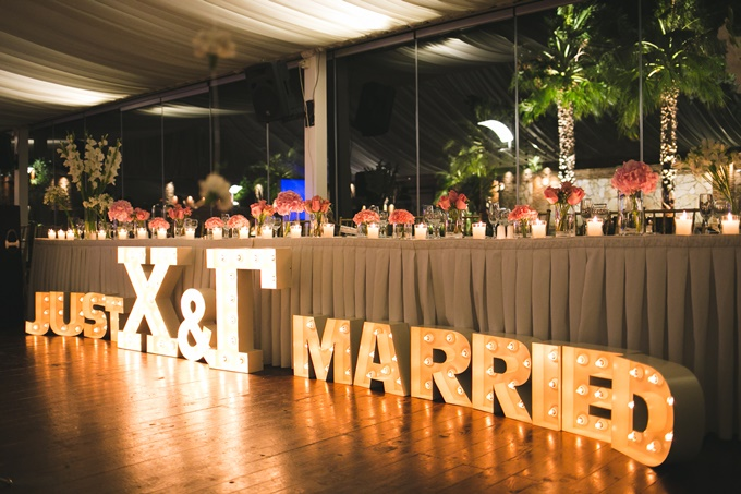 Just Married marque letters