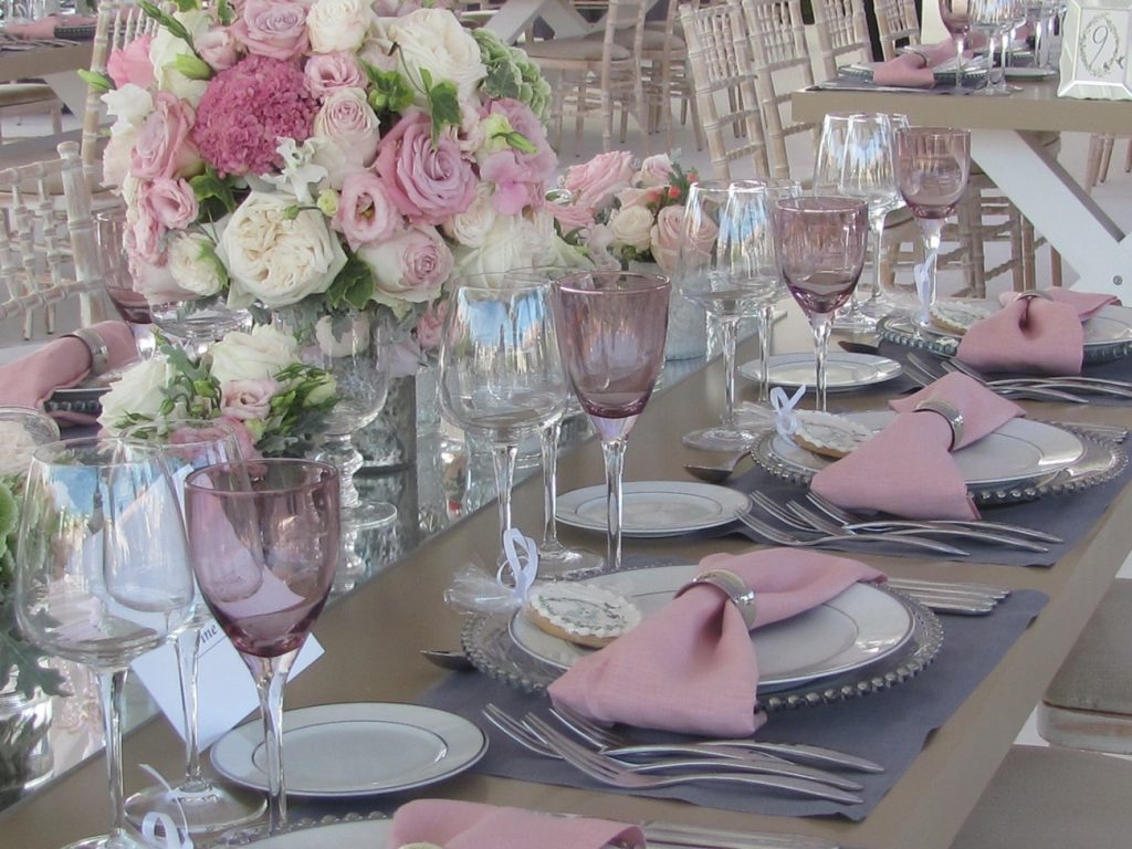 silverware and glassware rentals white lilac