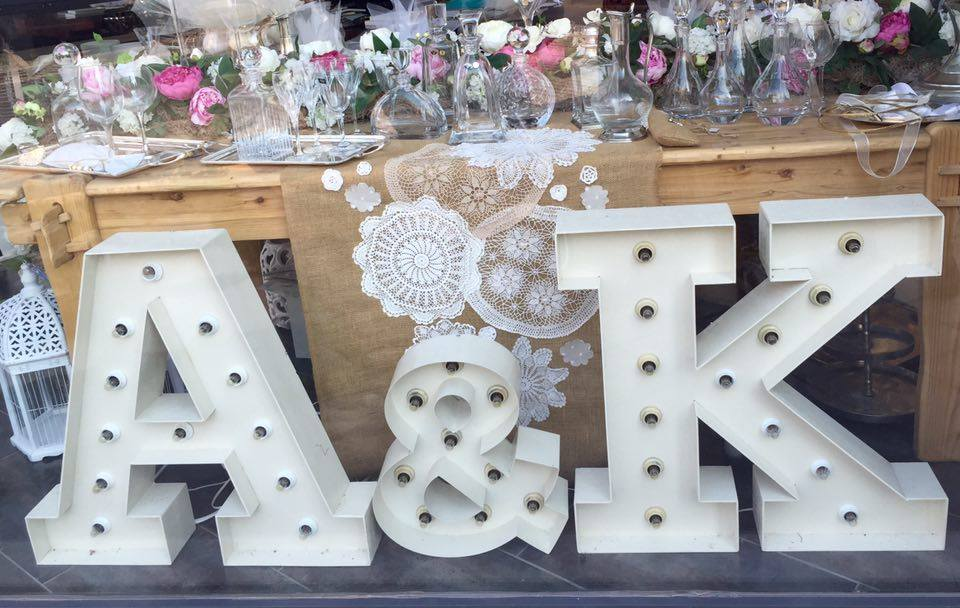 bride and groom decorative initials