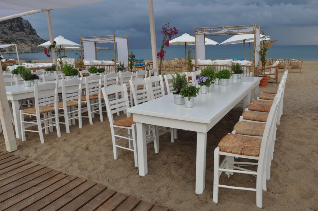 beach party wedding guest chairs