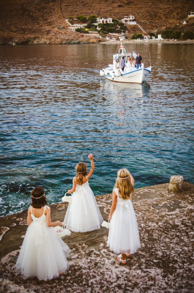 Flower girls in an island wedding