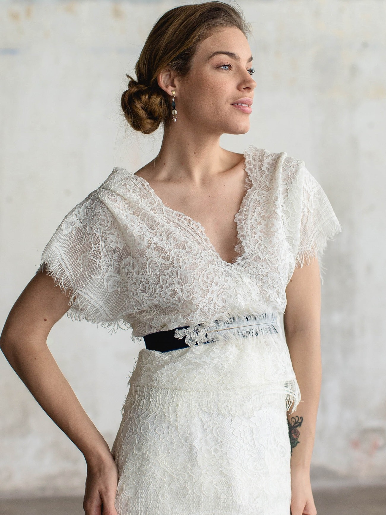 lace wedding dress with short sleeve katia delatola