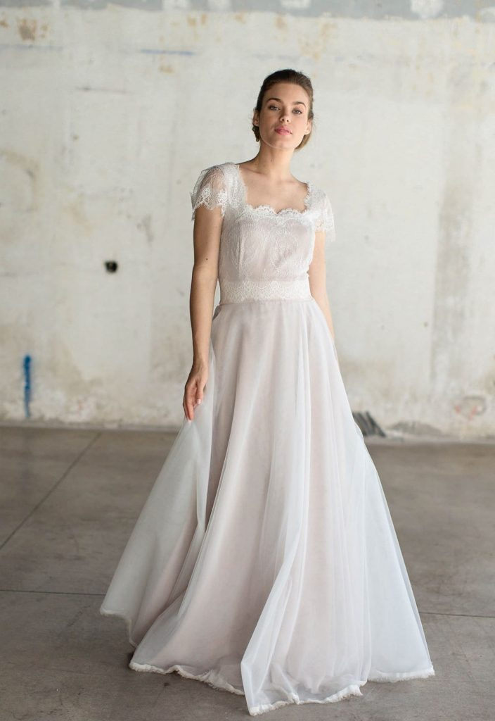 a line wedding dress with short sleeve