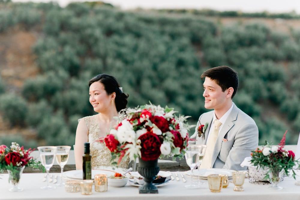red flower wedding decoration