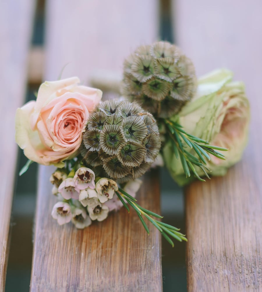 groom's rustic boutonniere