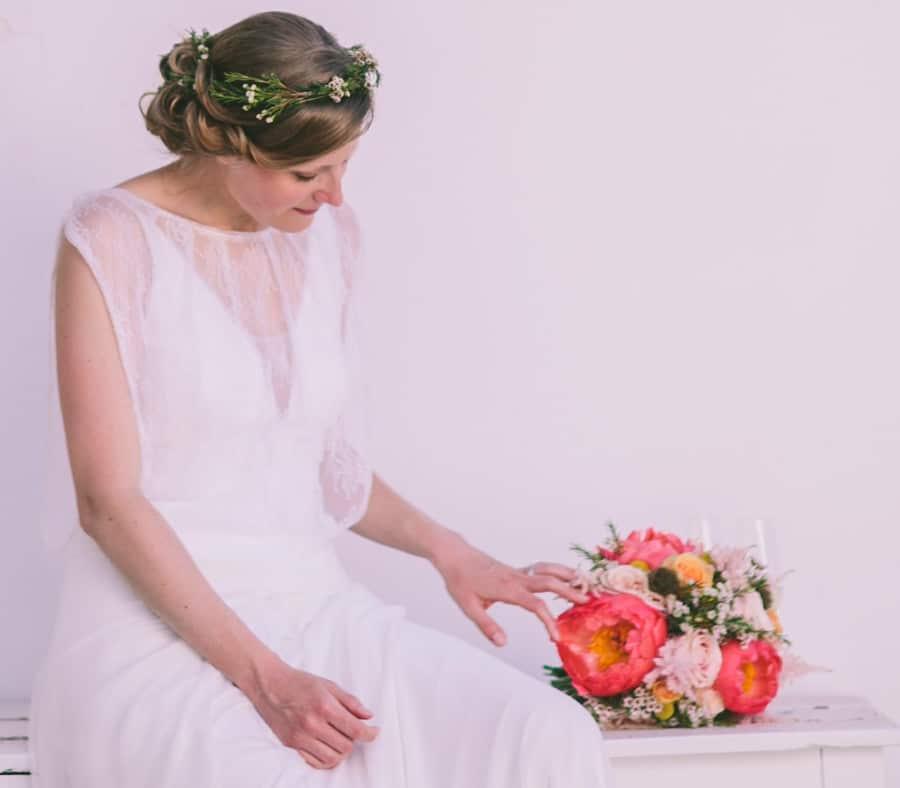 romantic bride with wedding bouquet