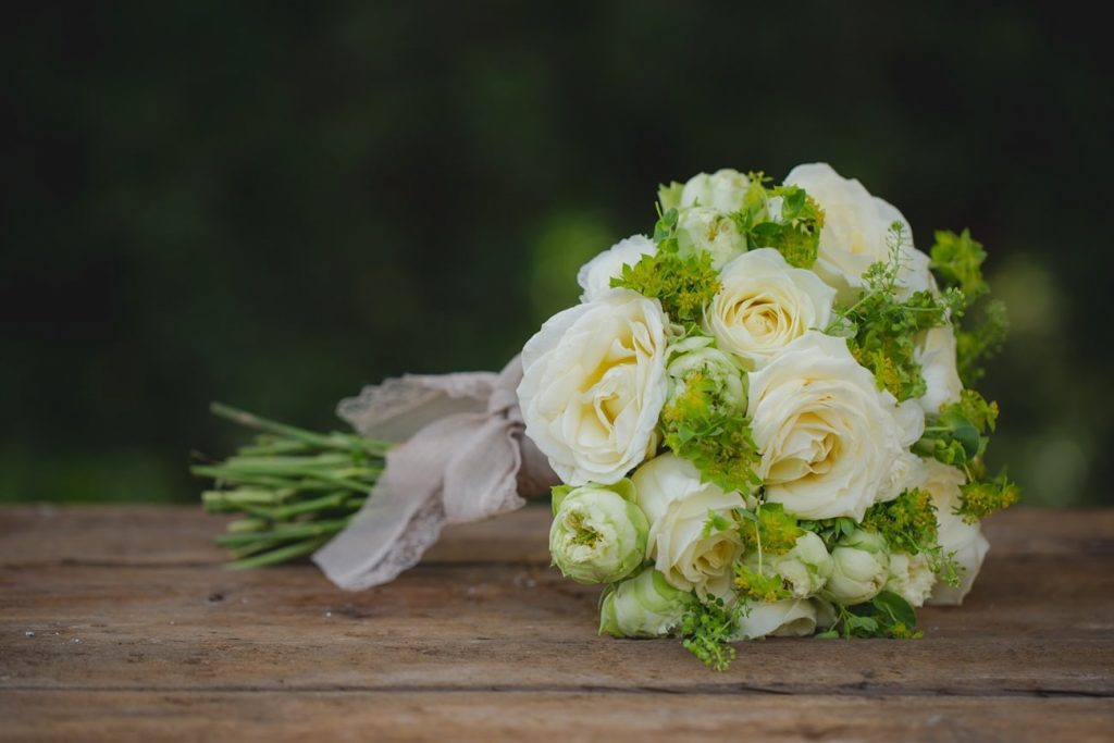 chic wedding bouquet with white roses