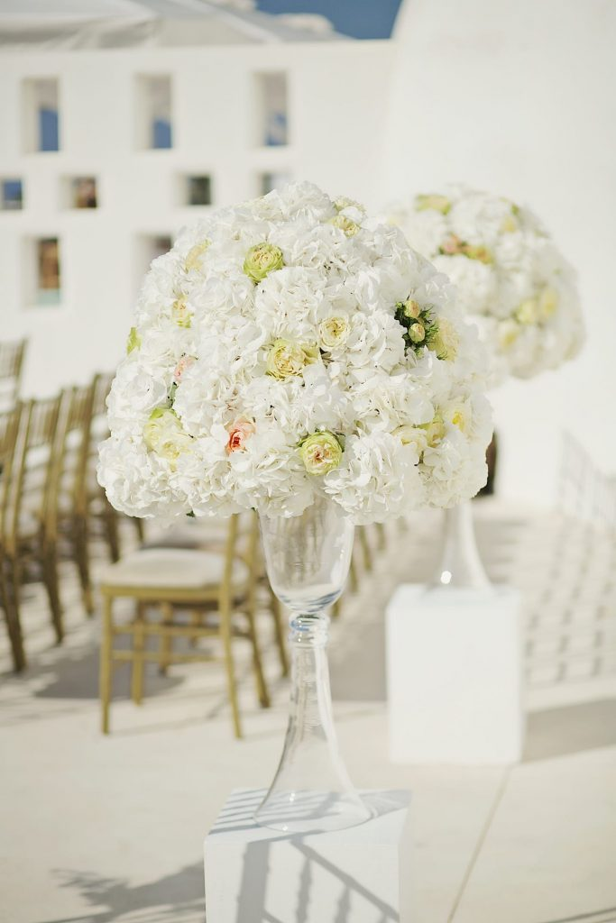 church decoration with white flowers by red box days