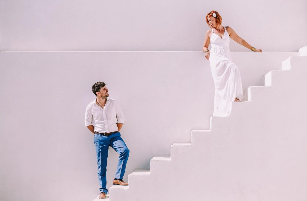 bride and groom in santorini