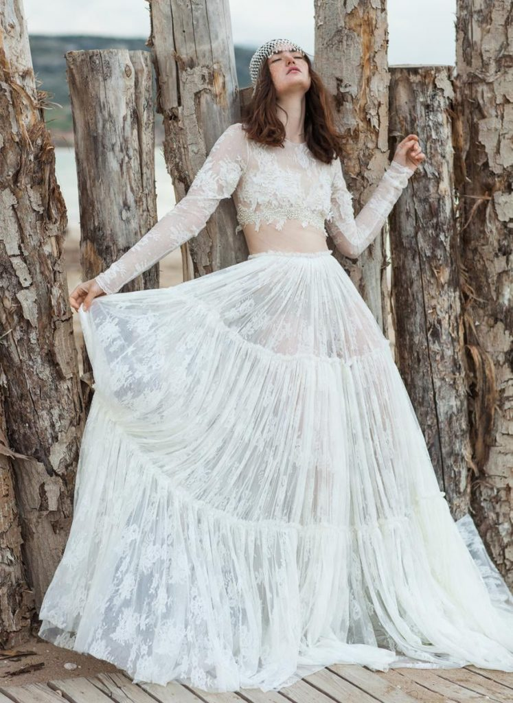 romantic wedding dress with transparencies
