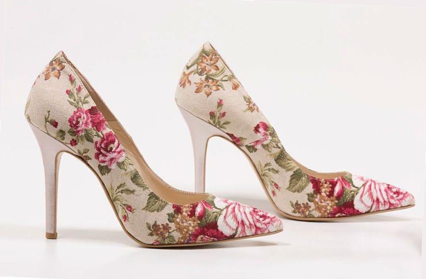 floral Νυφικά παπούτσια Sideris