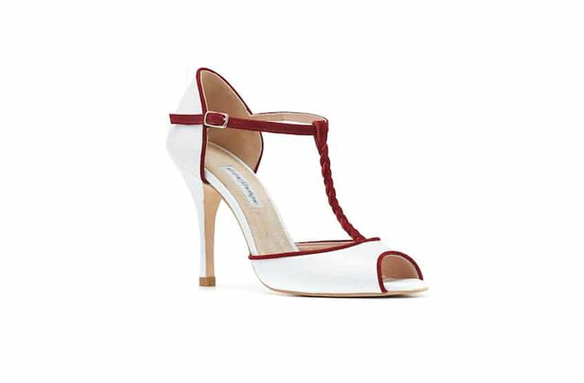 white and red wedding shoes