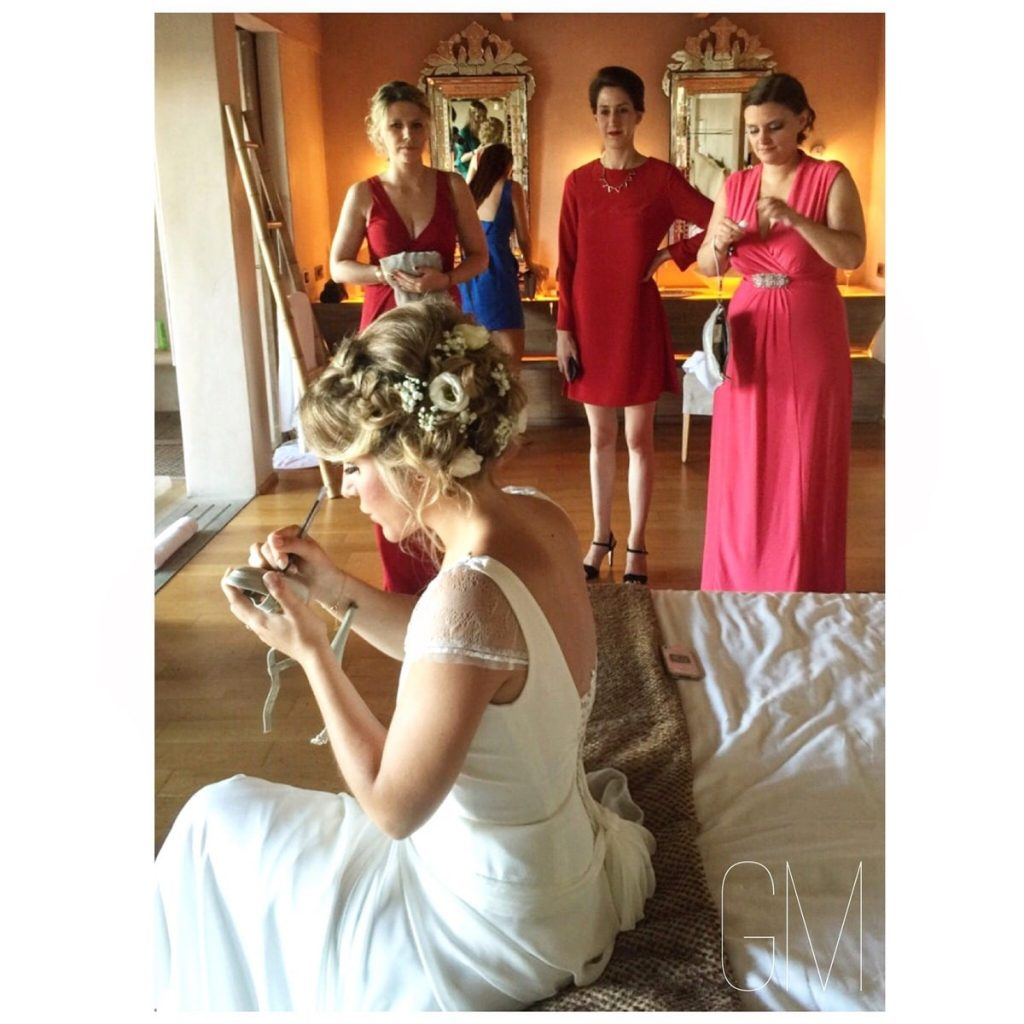 bride with hair up do
