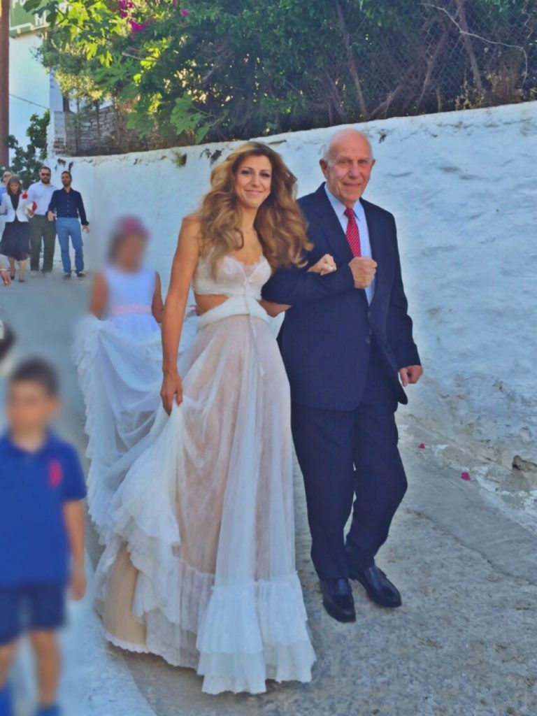 Bride with long hair and her father