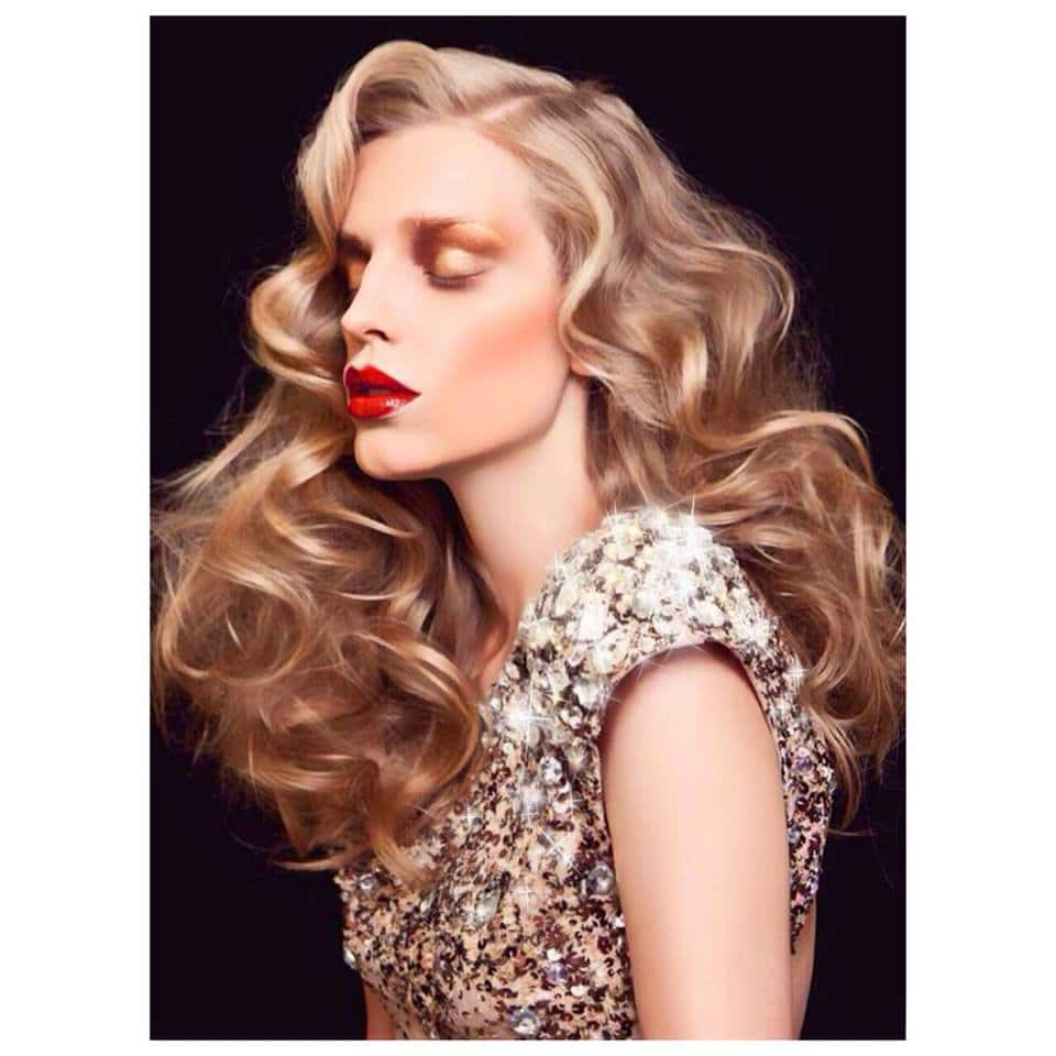 blond bride with red lipstick