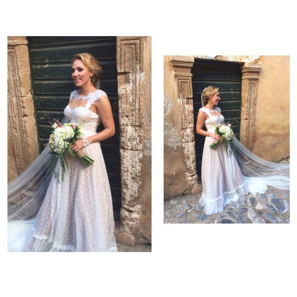 blond bride with wedding hairdo