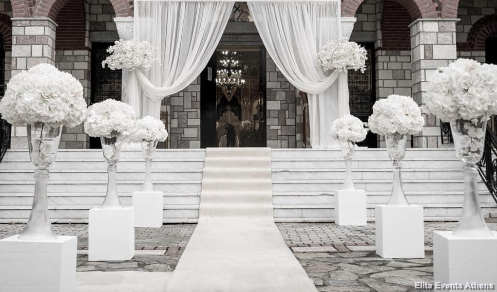 white wedding church decoration