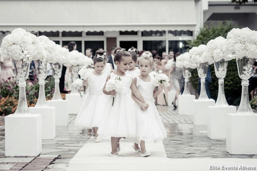 flower girls with hydrangenas