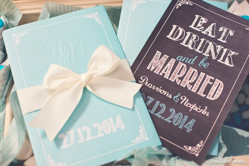 glam blue winter wedding invitations