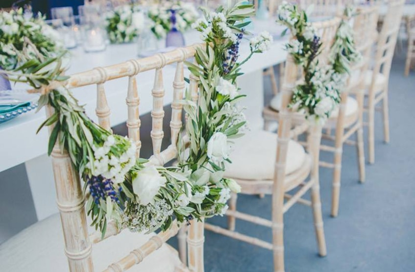 bride and groom chair flower decoration