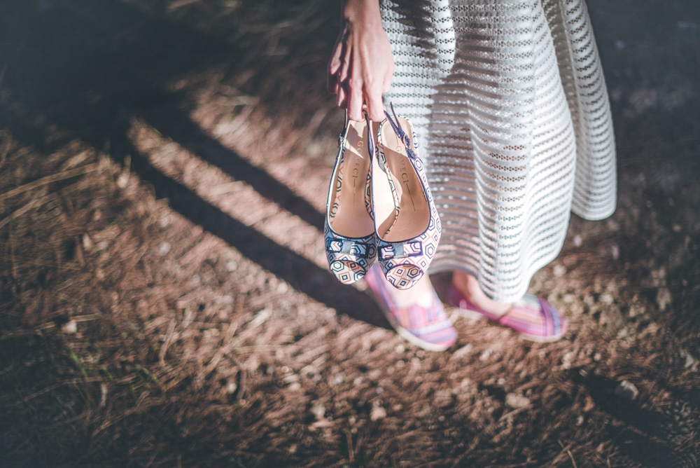 Bride with bridal shoes