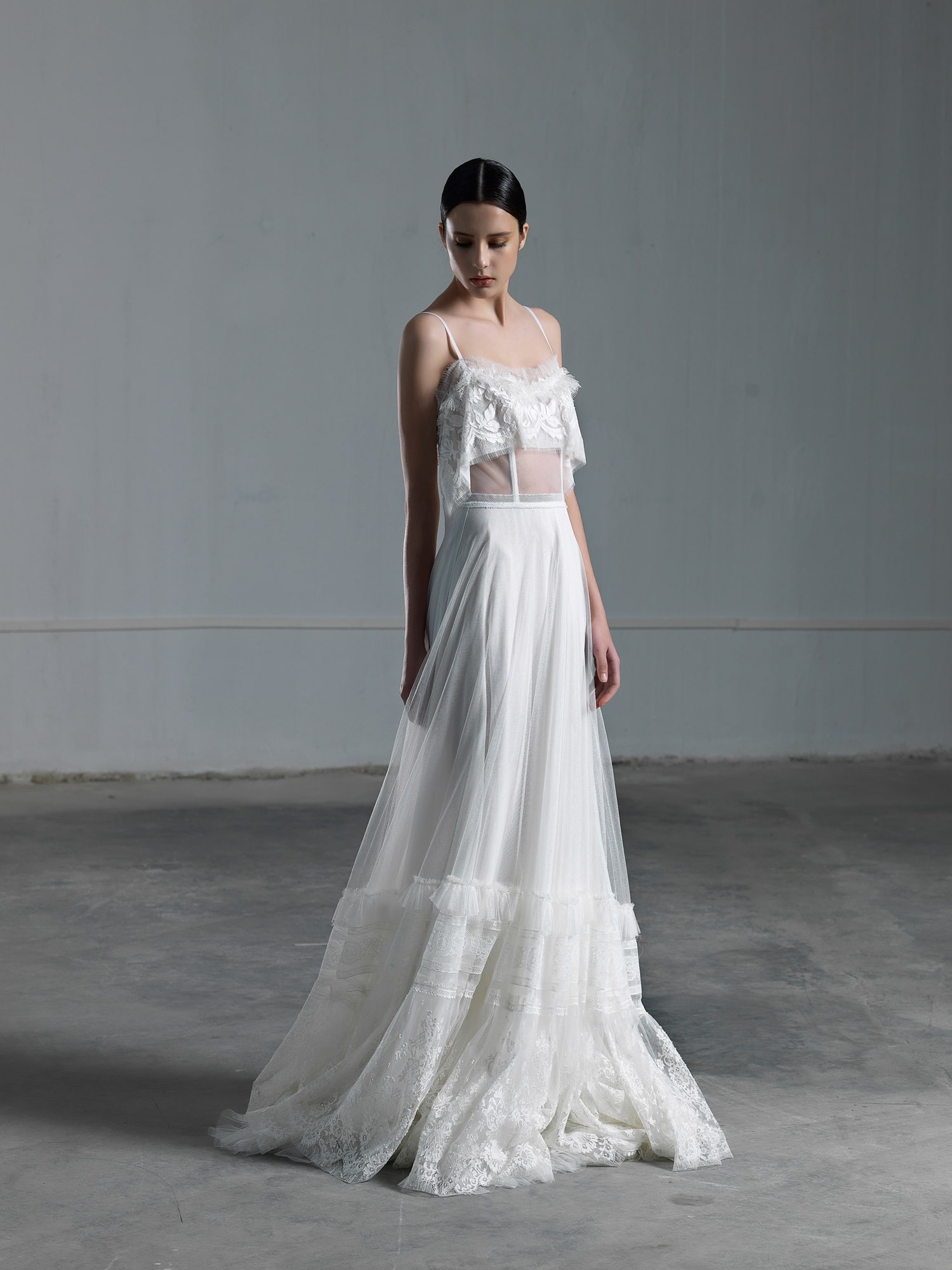 Romantic ethereal wedding dress with transparencies vasia romantic ethereal wedding dress with lace top with transparencies and thin straps junglespirit Gallery