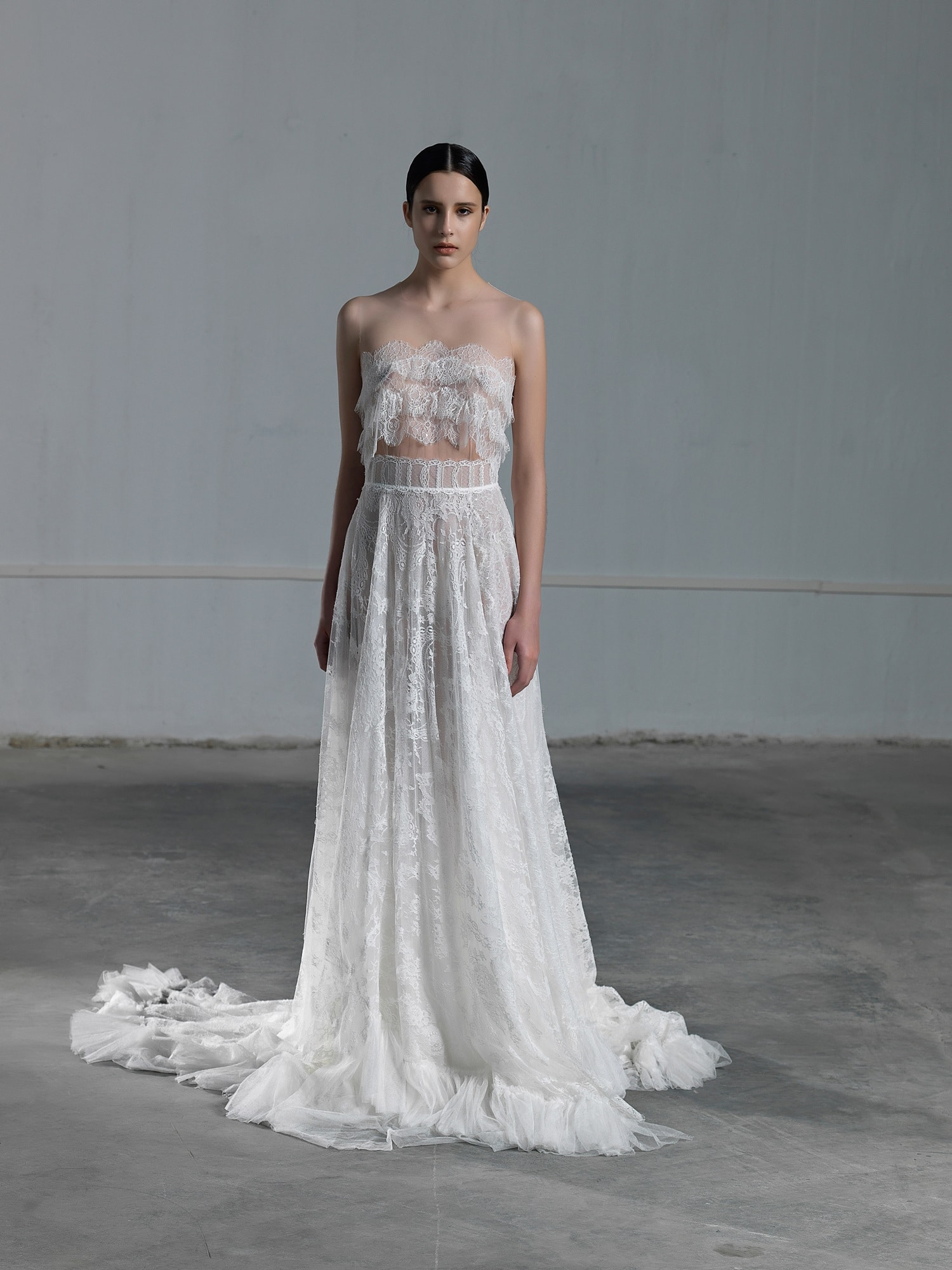 3eb8f82acd43a2 Romantic two piece wedding dress with lace crop top and tulle skirt Vasia  Tzotzopoulou