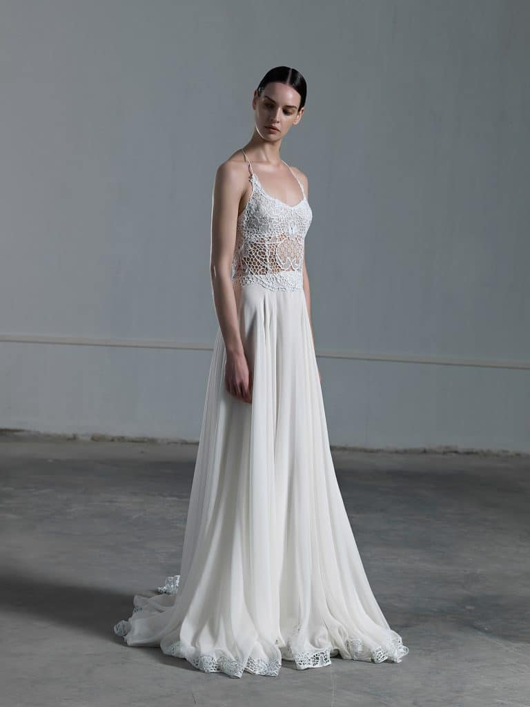 A line wedding dress with tulle skirt and crochet top with skinny straps