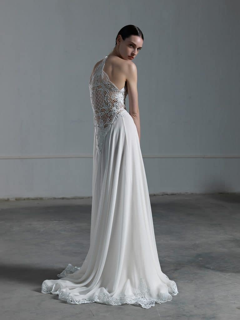 A Line weddign dress with tulle skirt and crochet top with impressive high back