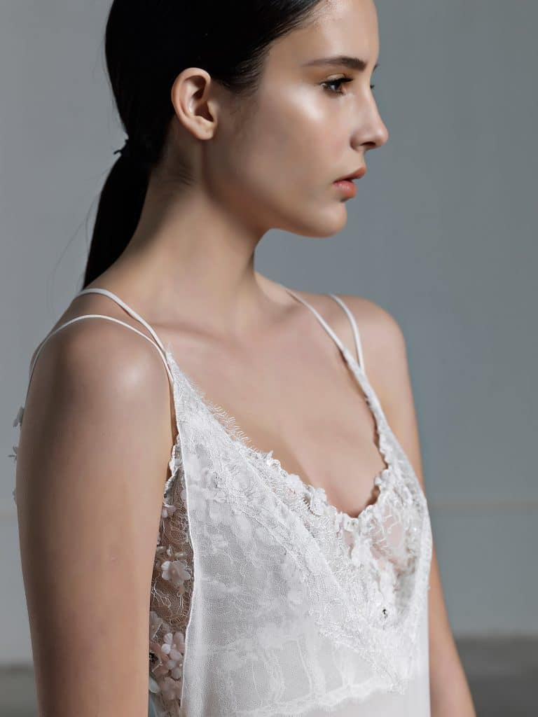 Romantic tulle wedding dress with low neck line Vasia Tzotzopoulou 2017