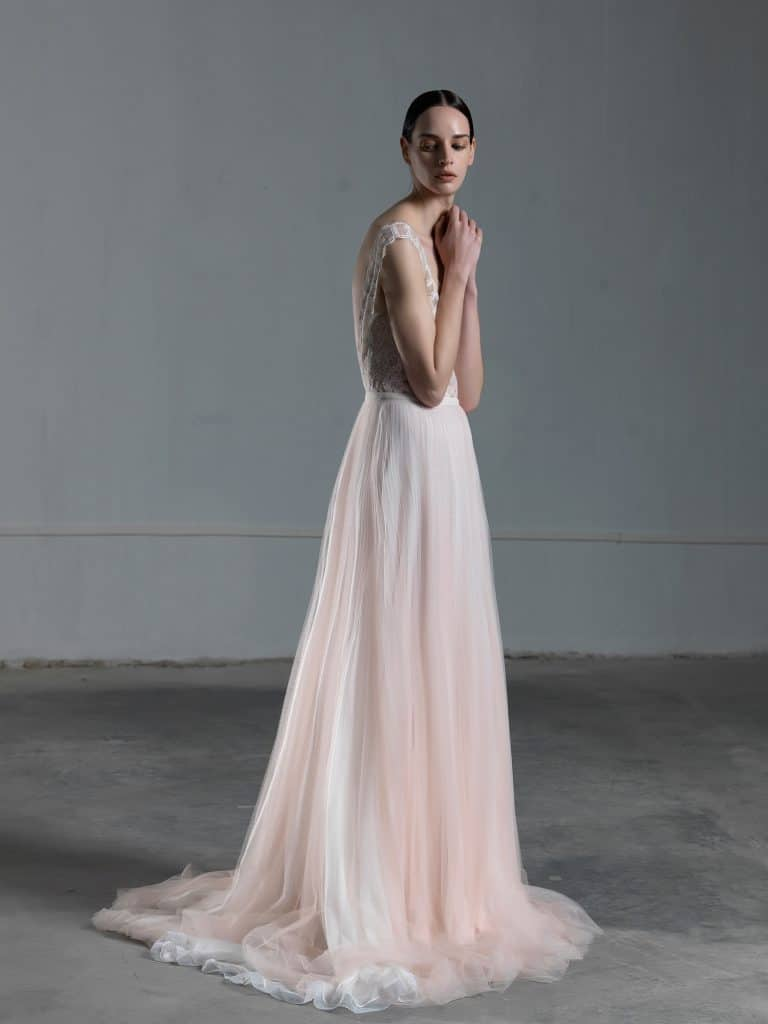 Romantic pink A line wedding dress with tulle skirt and lace top with wide straps Vasia Tzotzopoulou 2017