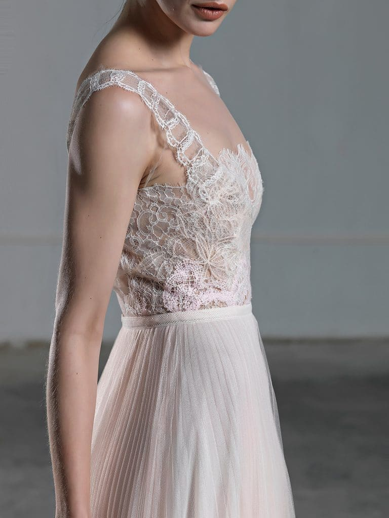 Romantic pink A line wedding dress with tulle skirt and lace top with wide straps Vassia Tzotzopoulou 2017