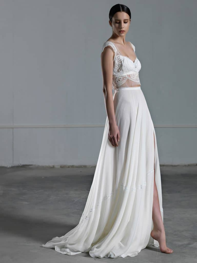 Two piece wedding dress with romantic lace crop top and square neckline with wide strap