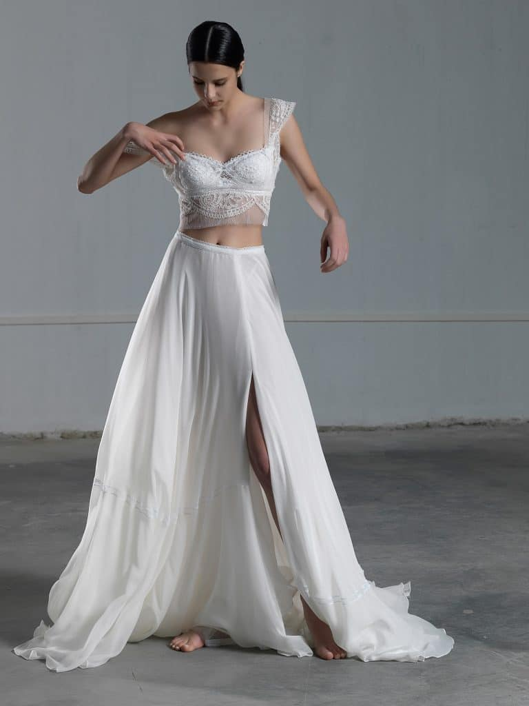 Two piece wedding dress with lace crop top and tulle skirt