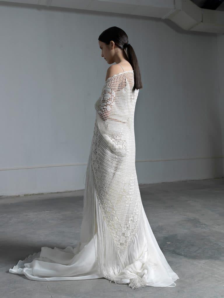Romantic wedding dress with crochet shawl Vasia Tzotzopoulou 2017