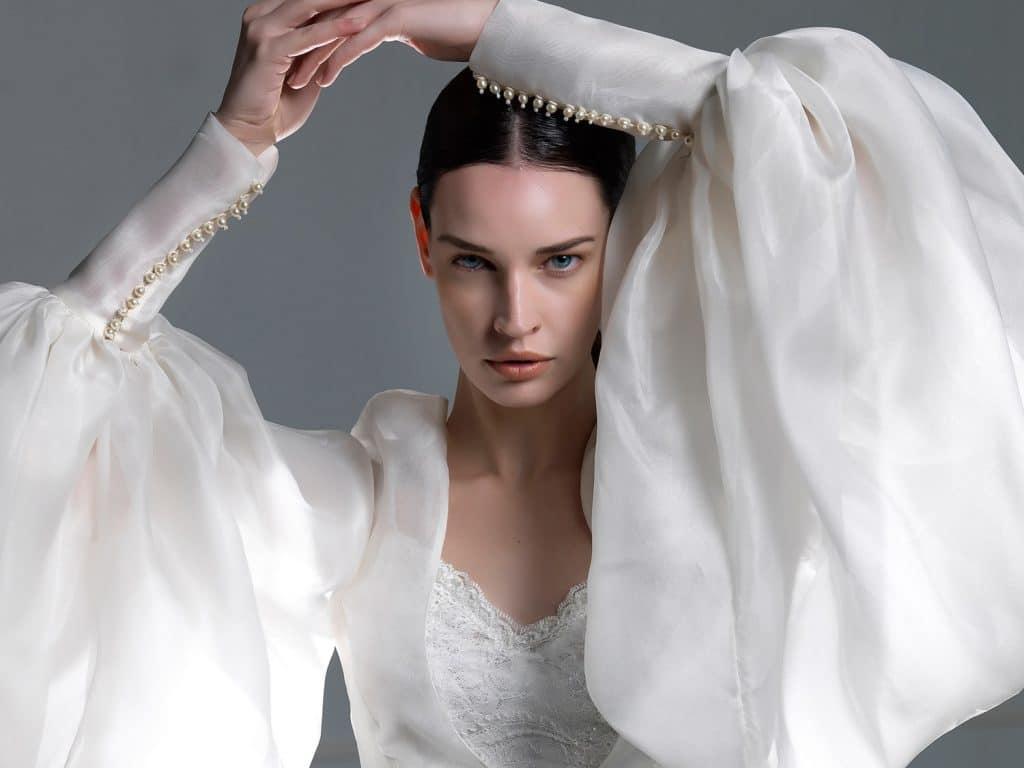 Silk wedding dress with balloon sleeves Vasia Tzotzopoulou 2017