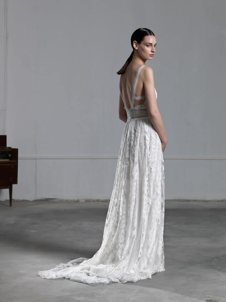 A line romantic wedding dress with impressive open back