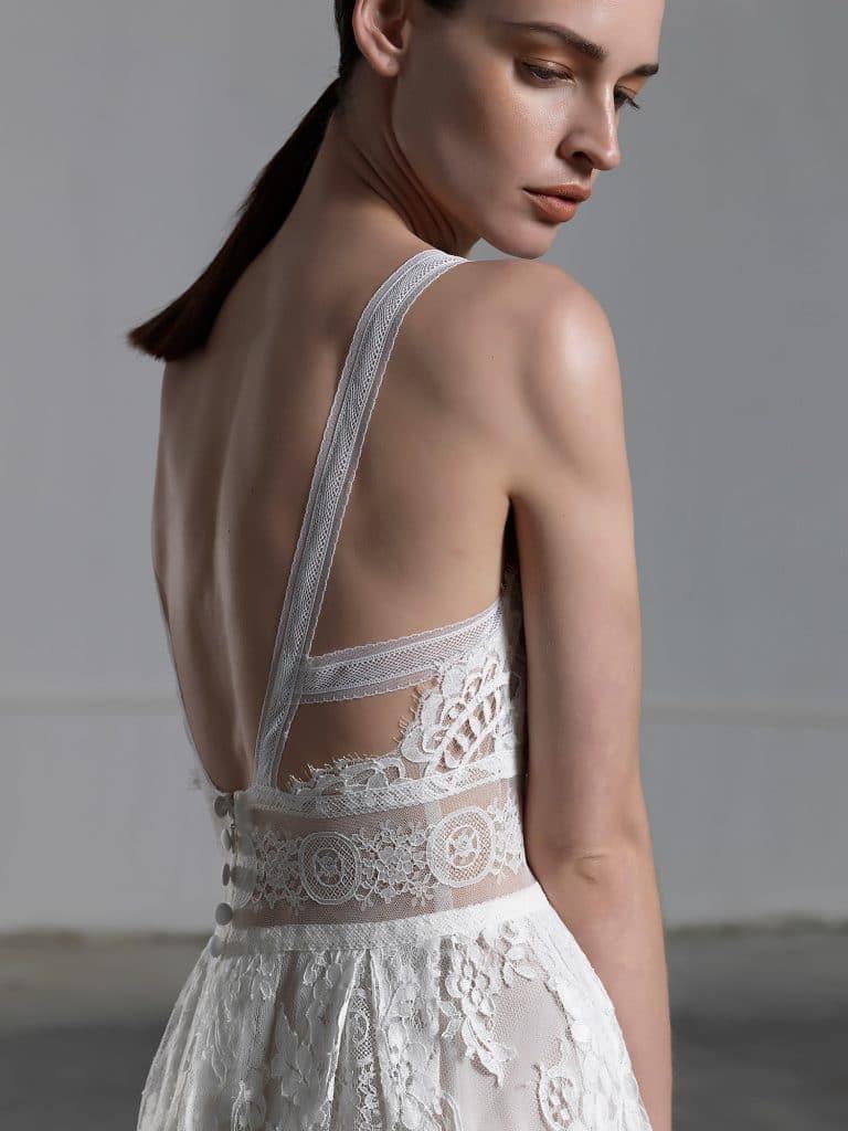 A line romantic wedding dress with impressive open back Vasia Tzotzopoulou 2017