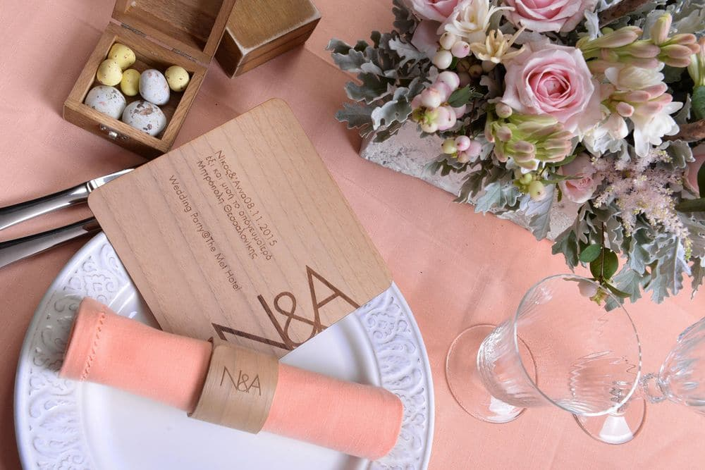 Romantic wedding decoration and wedding invitation