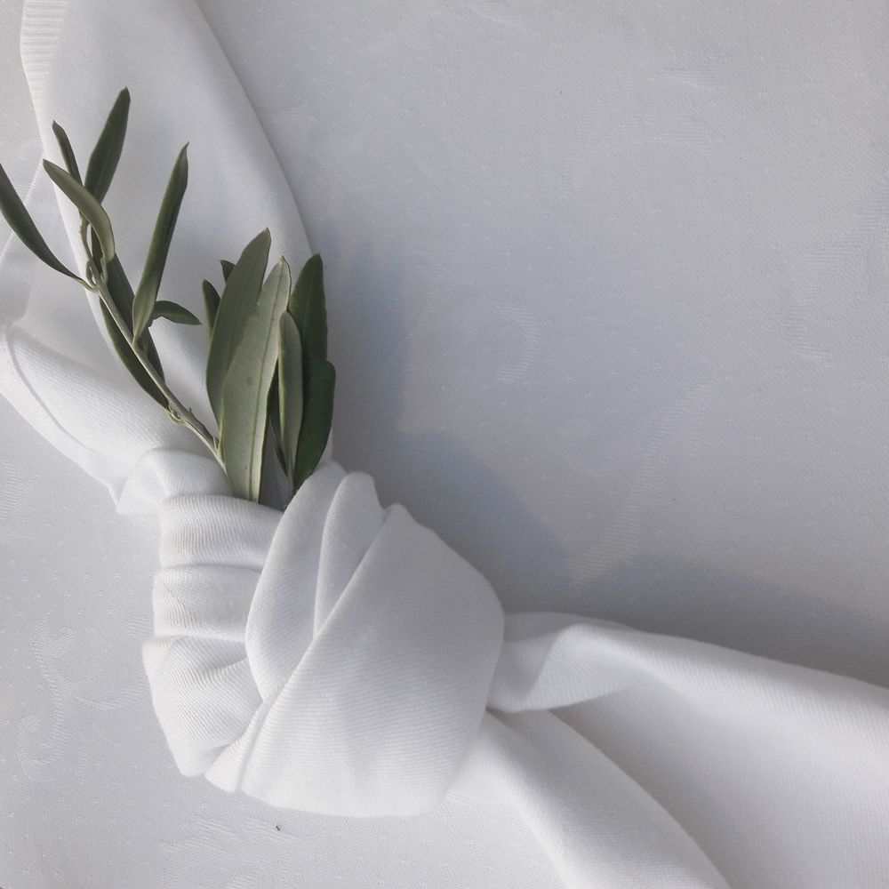 wedding guest napkin decoration with olive