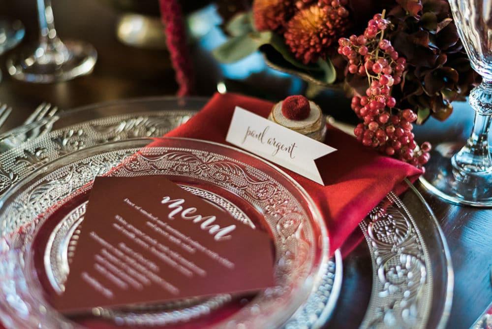 winter wedding menu decoration