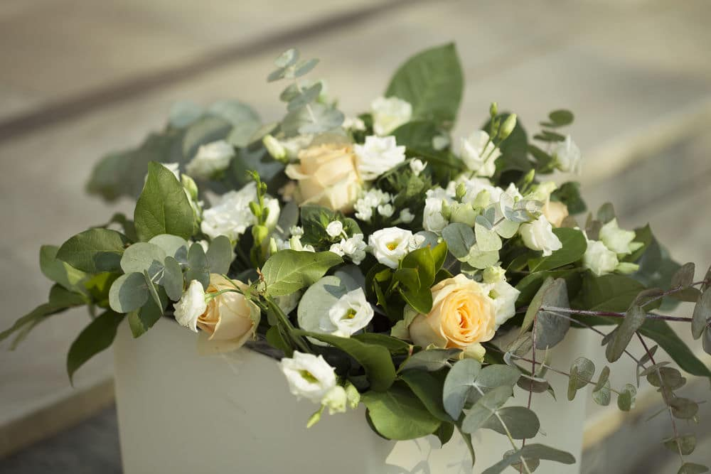 Wedding bouquet with yellow flowers